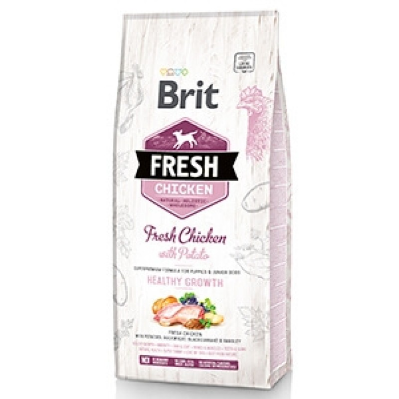 Brit Fresh Chicken & Potato Puppy 12 kg PLUS 2 Conserve Brit Fresh Pui si Cartof Dulce x 400 gr CADOU