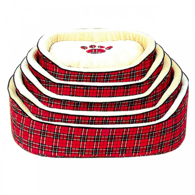 Culcus Textil Pentru Caini si Pisici Cu Perna Detasabila M Rosu