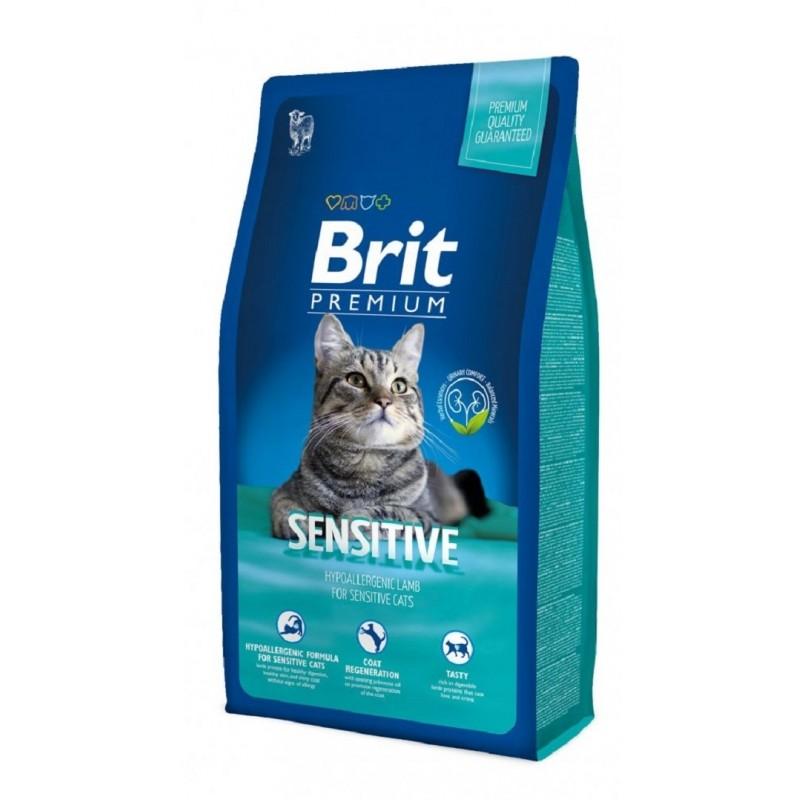 Brit Premium Cat Sensitive 8 Kg PLUS 4 Plicuri Brit Premium Cat CADOU
