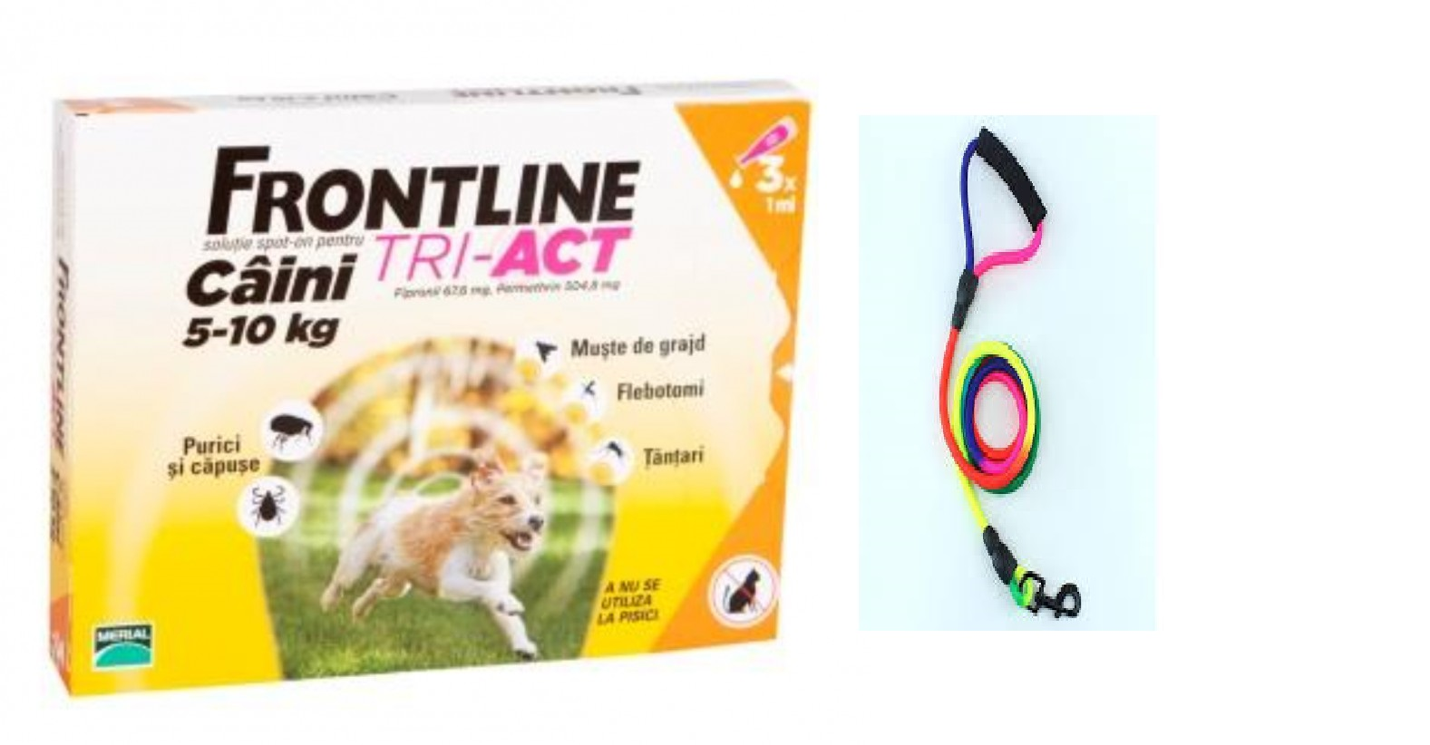 Frontline Tri Act S 5 10 Kg 3 Pipete PLUS 1 Lesa Curcubeu 2M CADOU shop4pet.ro