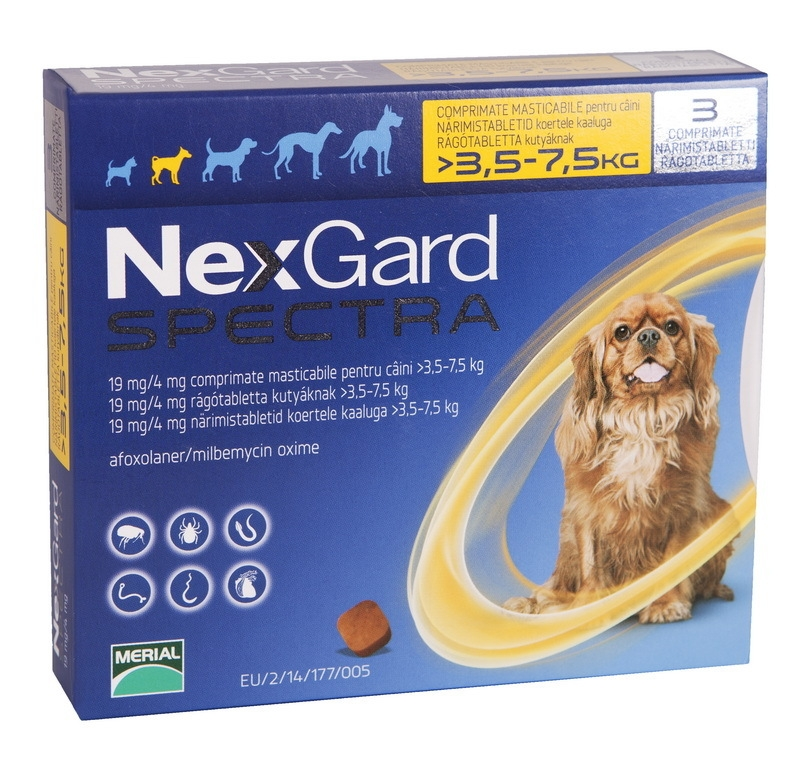 Nexgard Spectra Dog S 3.5-7.5 Kg x 1 Tableta shop4pet.ro