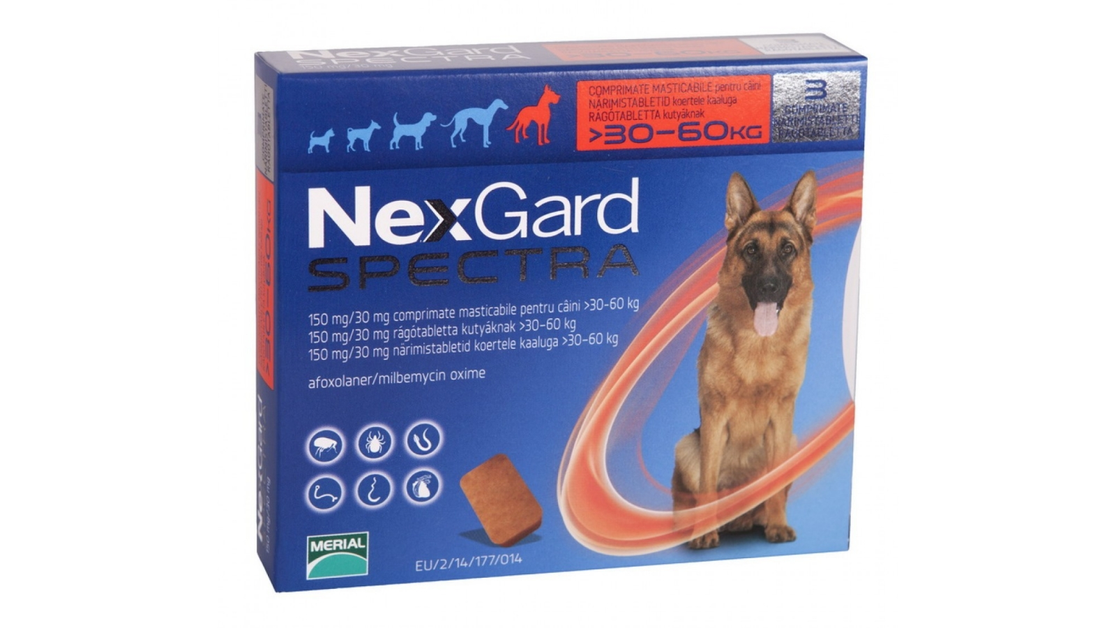 Nexgard Spectra Caine XL 30-60 kg Kg x 1 Tableta shop4pet.ro