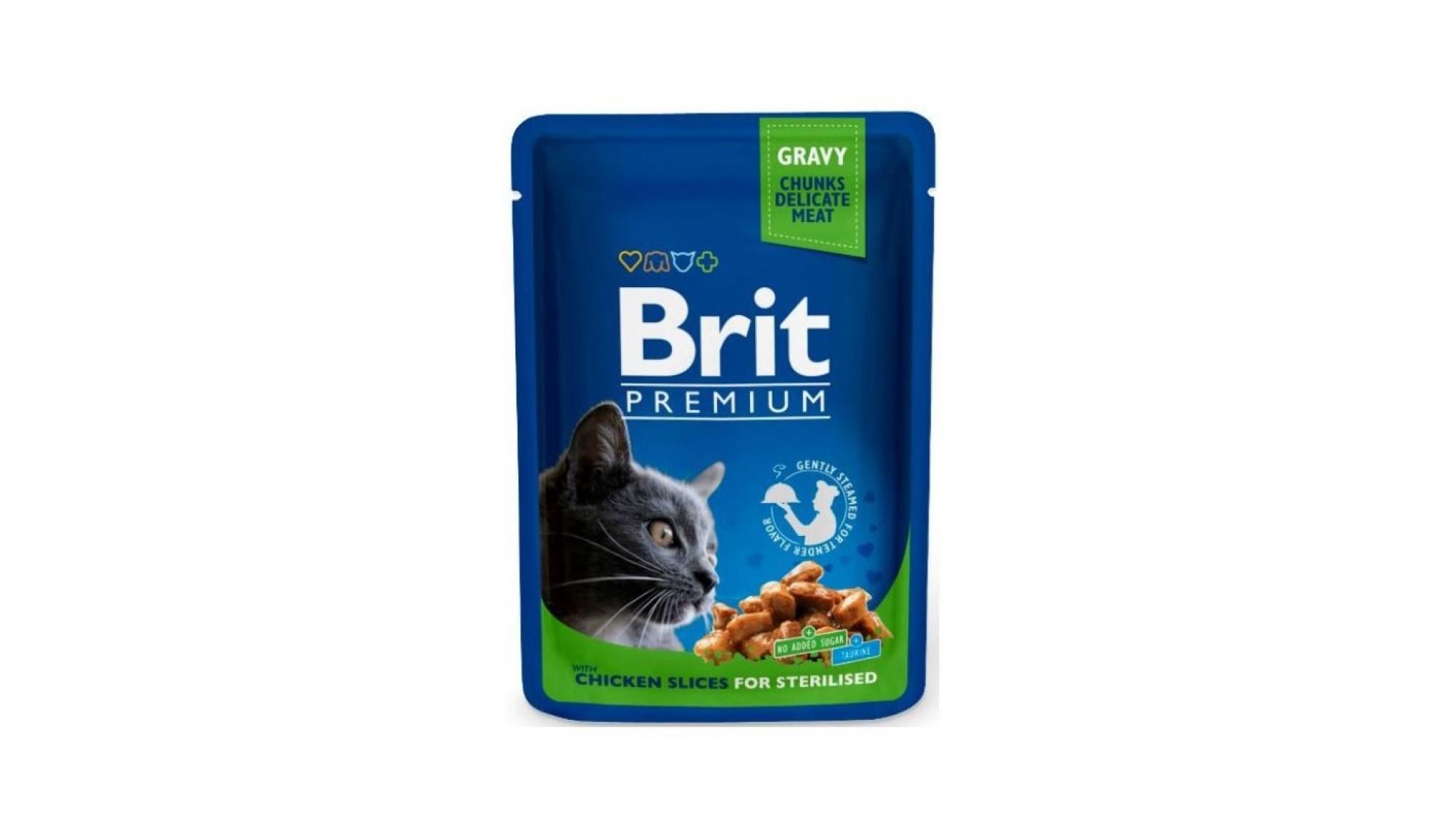 Brit Premium Plic Pisici Sterilizate cu Bucati de Pui 100 Gr 6 Plus 2 Gratis shop4pet.ro