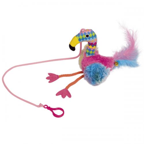 Jucarie Pentru Pisici Nobby Flamingo Puf & Clopotel 22 cm shop4pet.ro